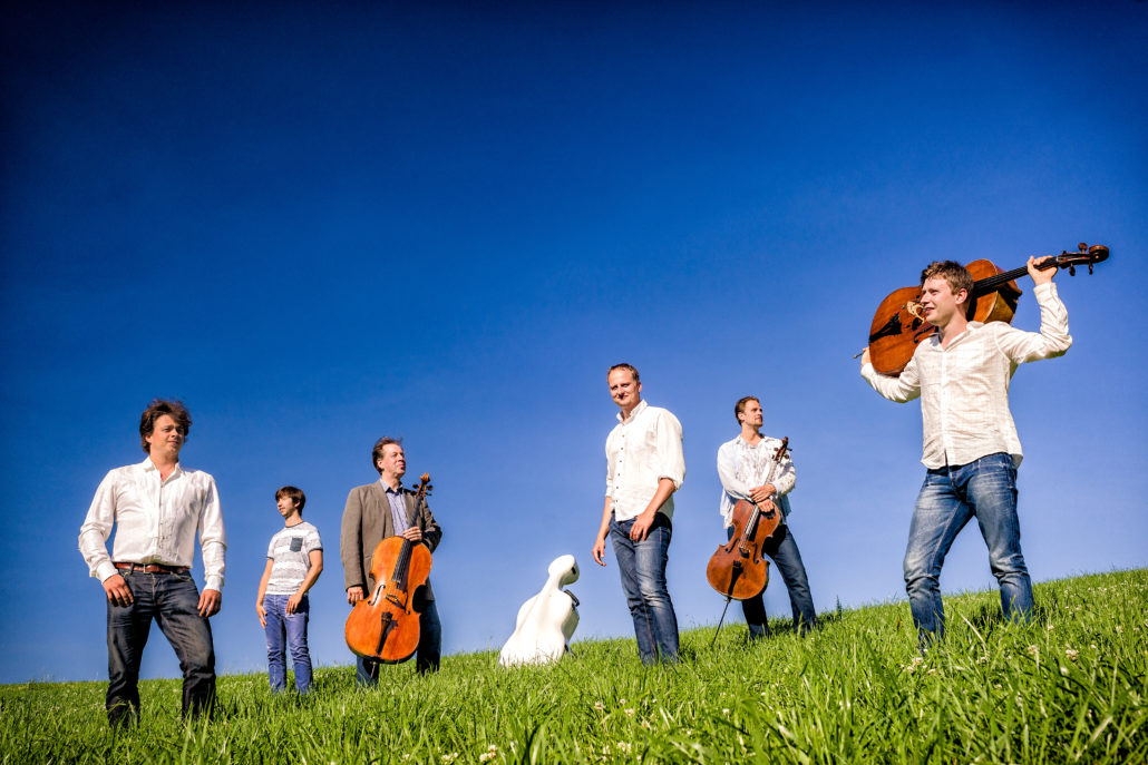 Total Cello Ensemble 2013. Musicians from the left: Samuli Peltonen, Tomas Nunez-Garces, Hannu Kiiski, Jussi Vähälä, Tuomas Ylinen, Tuomas Lehto